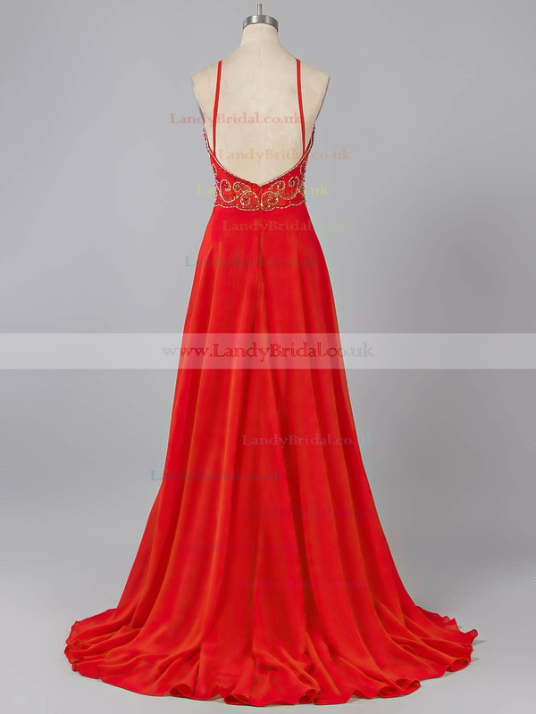 Sweep Train Scoop Neck Royal Blue Chiffon Beading Spaghetti Straps Prom Dresses #LDB020101239