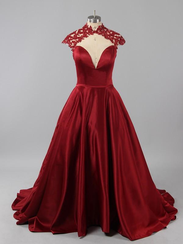 High Neck Royal Blue Satin Appliques Lace Court Train Cap Straps Prom Dress #LDB020101393
