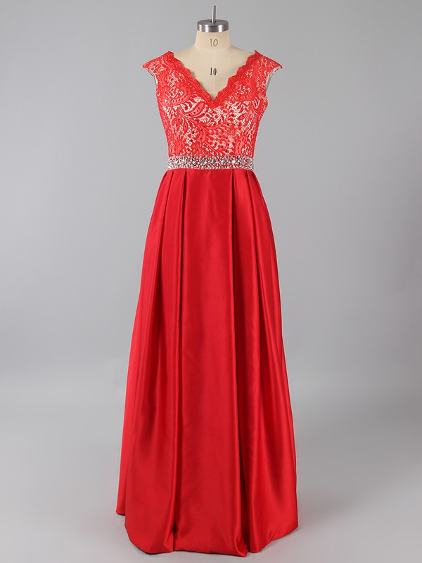 V-neck Red Satin Beading Princess Cap Straps Prom Dress #LDB020101514