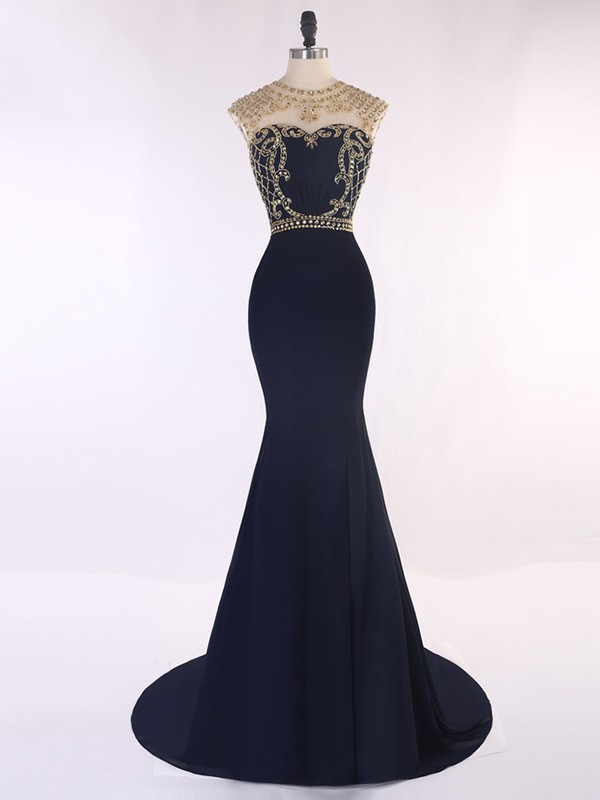 Dark Navy Satin Tulle Sweep Train Beading Gorgeous Trumpet/Mermaid Prom Dresses #LDB020101652