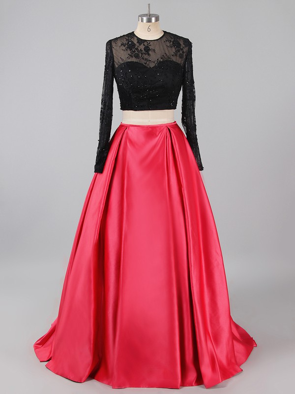 Two-pieces Red Satin Tulle Sweep Train Appliques Lace Long Sleeve Prom Dress #LDB020101722