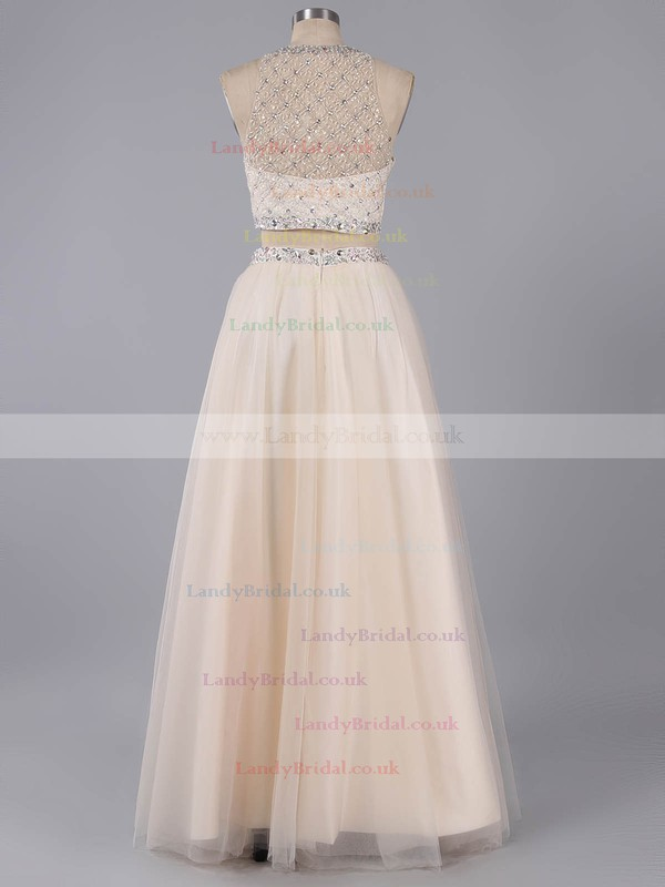Two-pieces Scoop Neck Tulle Floor-length Beading Champagne Prom Dress #LDB020101743