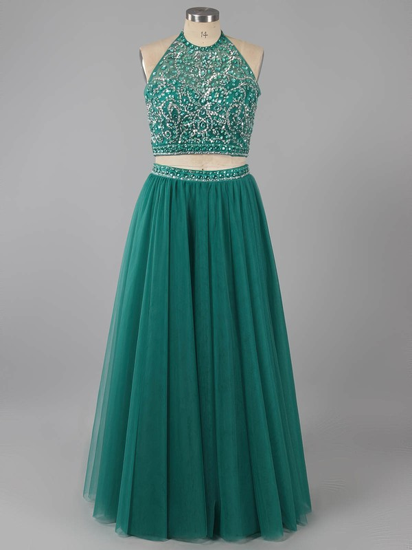 A-line Scoop Neck Dark Green Tulle Beading Two-pieces Prom Dress #LDB020101744