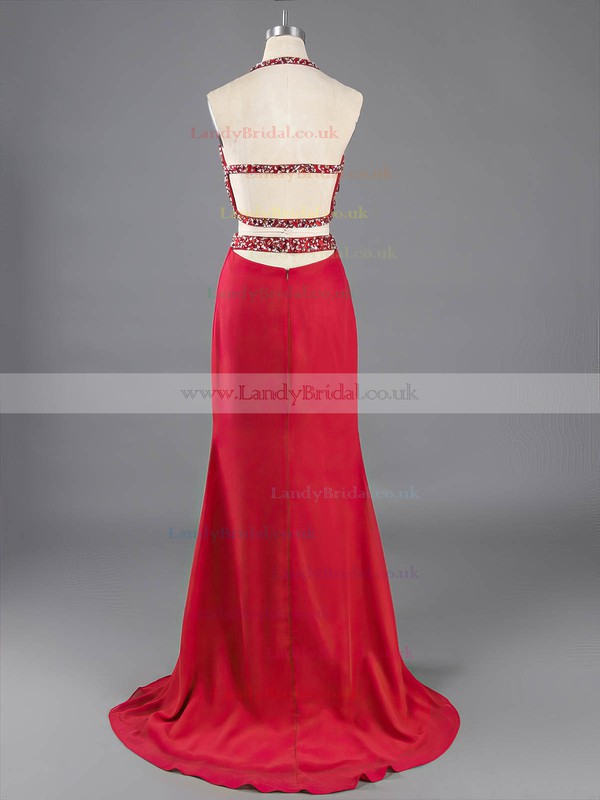 Sheath/Column Halter Backless Chiffon Crystal Detailing Two Pieces Prom Dresses #LDB020101845