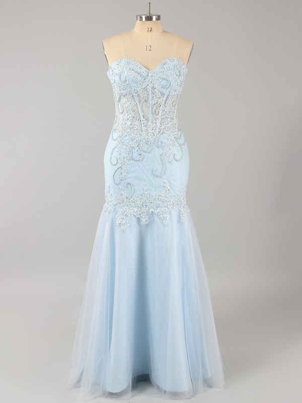 Sweetheart Beautiful Blue Tulle with Beading Trumpet/Mermaid Prom Dresses #LDB020101848