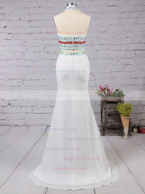 Sheath/Column Ivory Chiffon Beading Sweep Train Two Pieces Prom Dresses #LDB020101850
