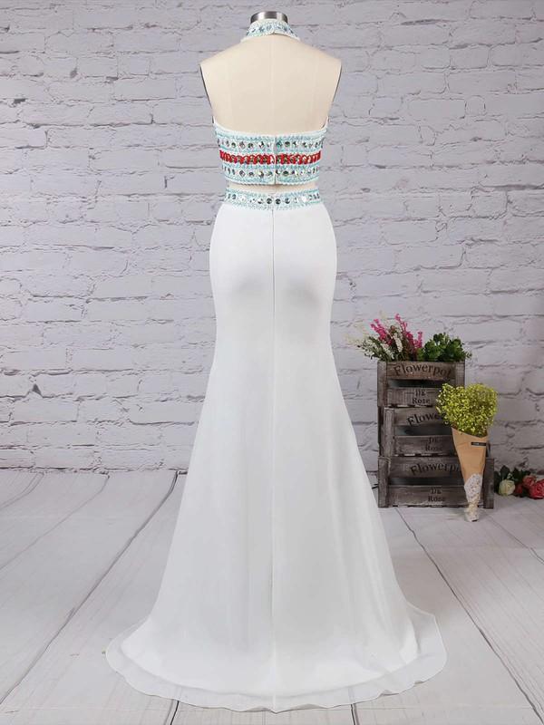 Sheath/Column Ivory Chiffon Beading Sweep Train Two Pieces Prom Dresses #LDB020101850