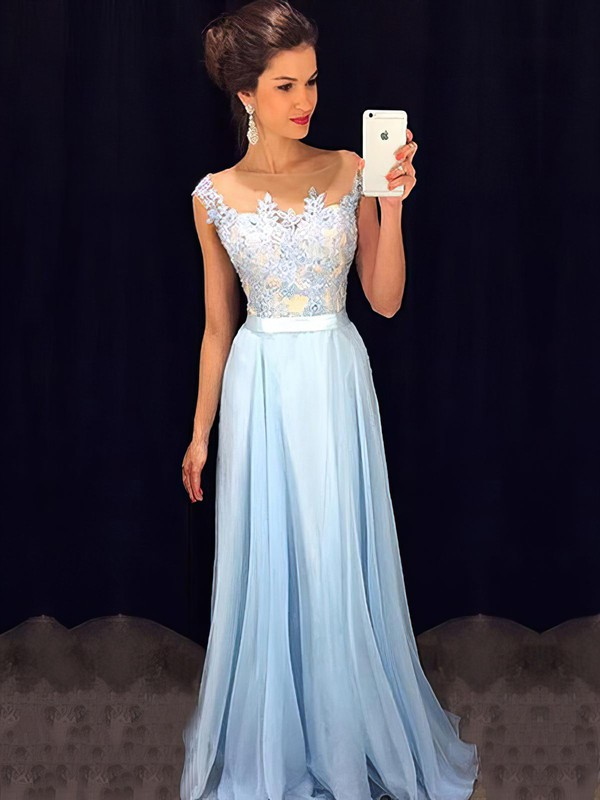 Affordable Scoop Neck Blue Chiffon Tulle Appliques Lace Floor-length Prom Dresses #LDB020101989