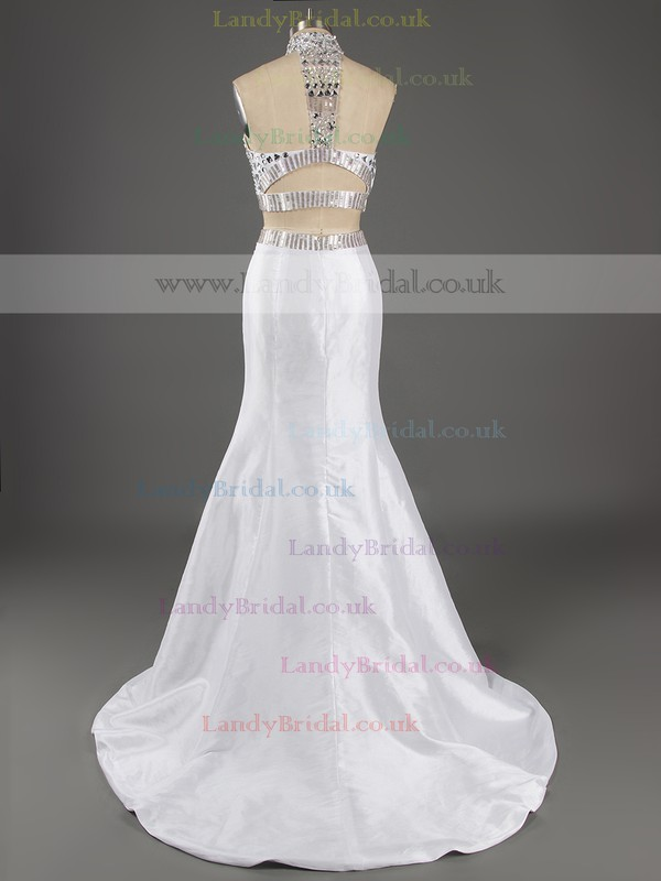 Trumpet/Mermaid High Neck Taffeta Beading White Two-pieces Prom Dresses #LDB020101995