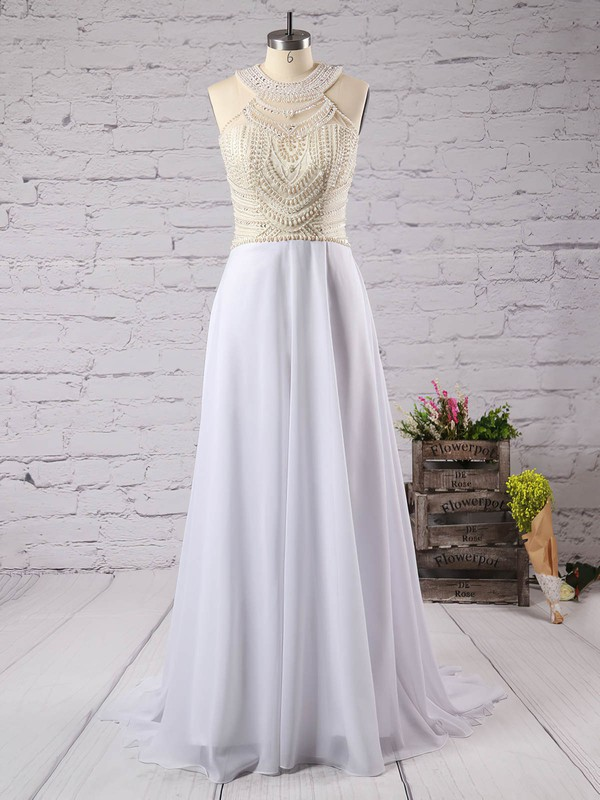 Fashion Scoop Neck White Chiffon Crystal Detailing Floor-length Prom Dresses #LDB020102006