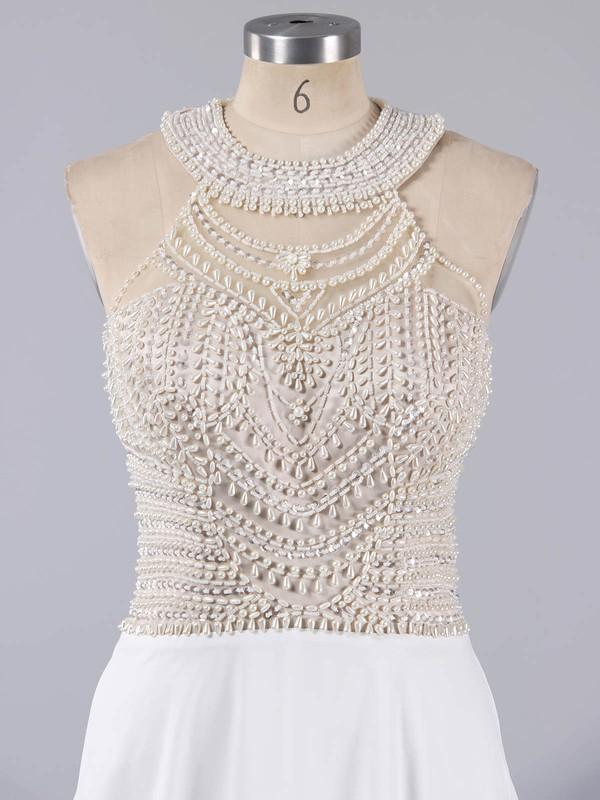 Fashion Scoop Neck White Chiffon Crystal Detailing Floor-length Prom Dresses #LDB020102006