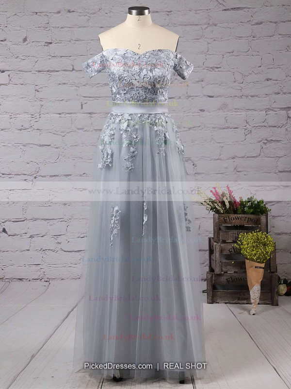 A-line Off-the-shoulder Tulle Floor-length Appliques Lace Prom Dresses #LDB020102047