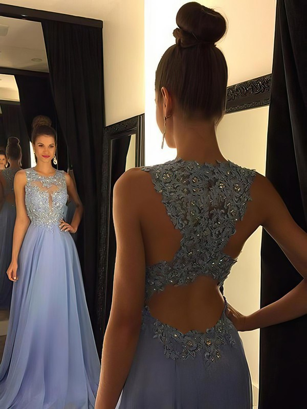A-line Chiffon Sweep Train Appliques Lace Sexy Prom Dresses #LDB020102055