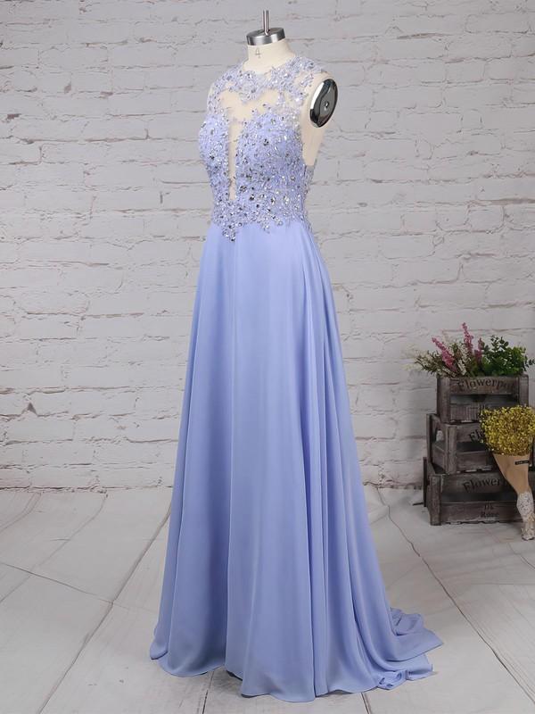 A-line Scoop Neck Chiffon Sweep Train Beading Prom Dresses #LDB020102055