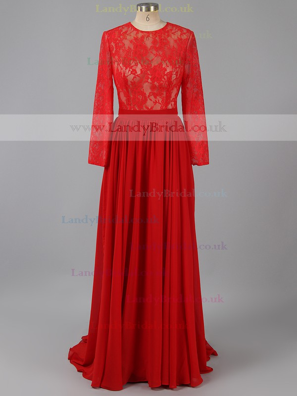Red Scoop Neck Chiffon Appliques Lace Long Sleeve Open Back Prom Dresses #LDB020102082
