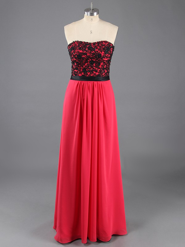 Wholesale Strapless Sheath/Column Chiffon Appliques Lace Red Prom Dress #LDB02014257