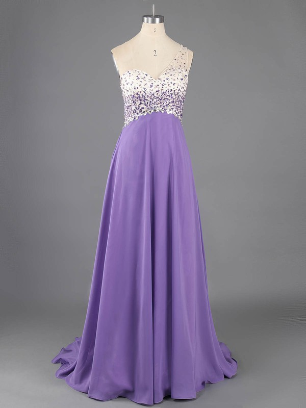 Open Back Chiffon Crystal Detailing Lavender One Shoulder Prom Dresses #LDB02016732