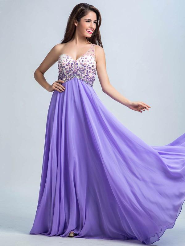 Open Back Chiffon Crystal Detailing Lavender One Shoulder Prom Dresses #LDB02016732