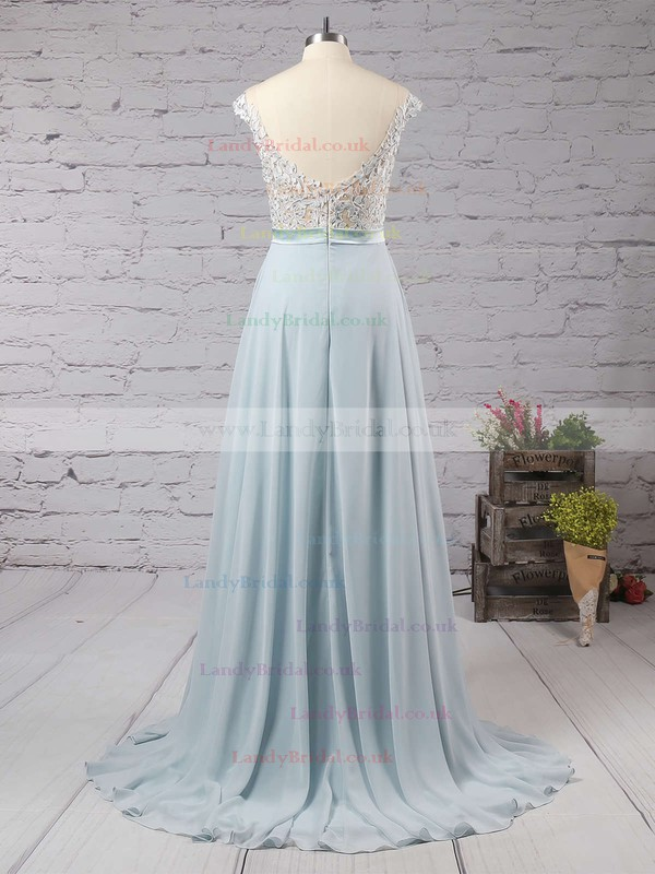 A-line Scoop Neck Chiffon Floor-length Appliques Lace Prom Dresses #LDB02018717