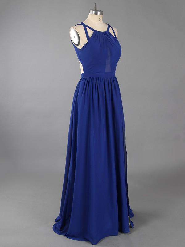 Burgundy Scoop Neck Chiffon Ruffles Split Front Sheath/Column Prom Dresses #LDB02023314