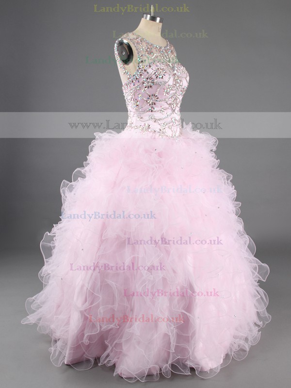 Fashion Tiered Ball Gown Scoop Neck Tulle Beading Quinceanera Dresses #LDB02072192