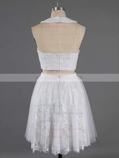 Scoop Neck Two Pieces White Lace Crystal Detailing Short/Mini Prom Dresses #LDB020100649