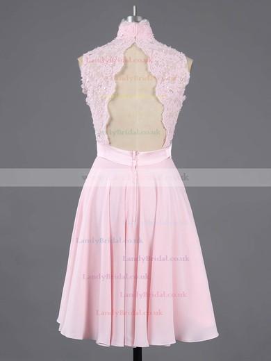 High Neck Appliques Lace Short/Mini Pink Cute Chiffon Prom Dress #LDB020100684