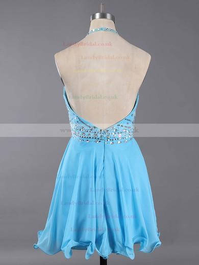 Watermelon Halter Chiffon Crystal Detailing Backless Short/Mini Prom Dress #LDB020100982