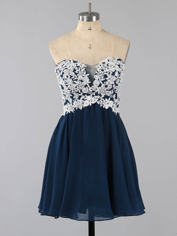 Dark Navy Sweetheart Chiffon Tulle Appliques Lace Short/Mini Top Prom Dress #LDB020100990