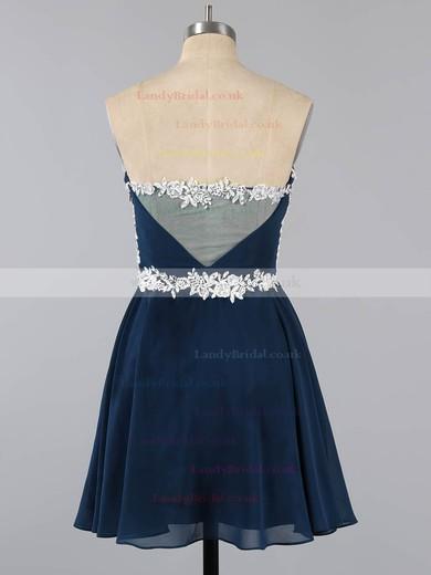 Dark Navy Sweetheart Chiffon Tulle Appliques Lace Short/Mini Top Prom Dress #LDB020100990
