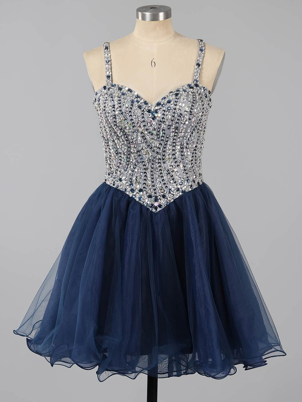 Dark Navy Sweetheart Tulle Beading Lace-up Short/Mini Prom Dresses #LDB020101149