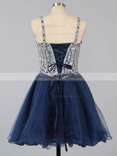 Dark Navy Sweetheart Tulle Beading Lace-up Short/Mini Prom Dresses #LDB020101149