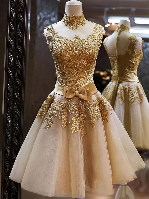0c7c0ed81e3 Popular High Neck Multi Colours Tulle Appliques Lace Knee-length Prom  Dresses  LDB020101414