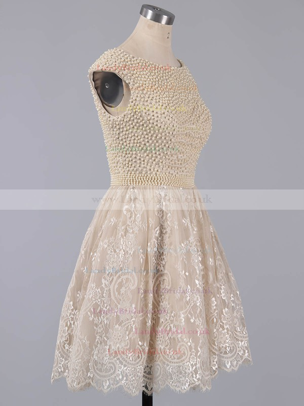 Short/Mini Scoop Neck White Lace Pearl Detailing Cap Straps Prom Dress #LDB020101436