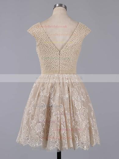 Short/Mini Scoop Neck White Lace Pearl Detailing Cap Straps Prom Dress #LDB020101436