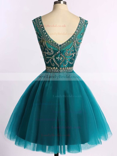 Scoop Neck Sparkly Dark Green Tulle Beading Short/Mini Prom Dress #LDB020101675