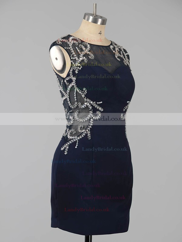 Sheath/Column Dark Navy Silk-like Satin Beading Short/Mini  Backless Prom Dresses #LDB020101761