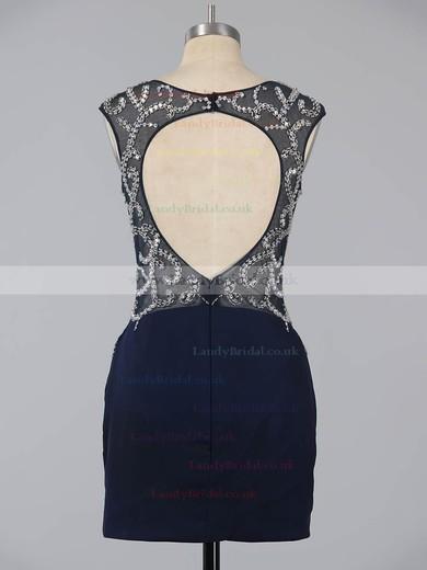 Sheath/Column Dark Navy Silk-like Satin Beading Short/Mini  Backless Prom Dresses #LDB020101761