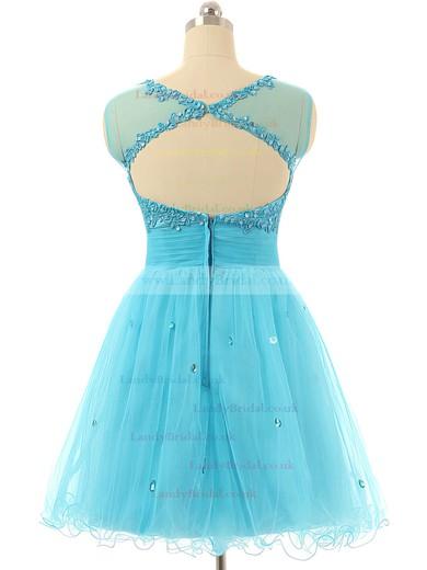 Cap Straps A-line Tulle Short/Mini Beading Blue Prom Dresses #LDB020101797