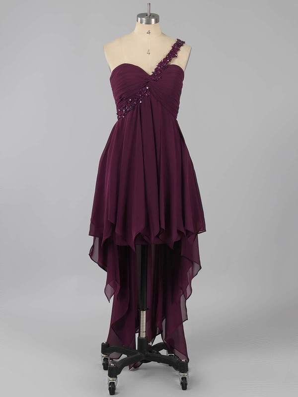 One Shoulder Purple Open Back Chiffon Beading Asymmetrical Prom Dresses #LDB02013225