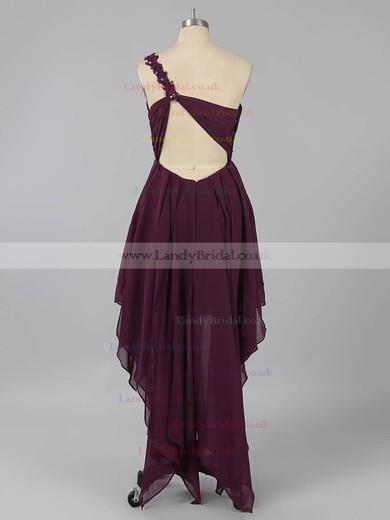 One Shoulder Purple Open Back Chiffon Beading Asymmetrical Prom Dresses #LDB02013225