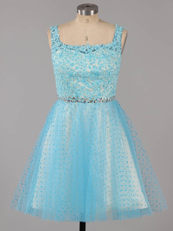 Square Neckline Blue Tulle Short/Mini Beading Backless Prom Dresses #LDB02019155