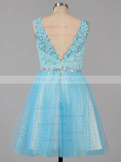 Square Neckline Blue Tulle Short/Mini Beading Backless Prom Dresses #LDB02019155