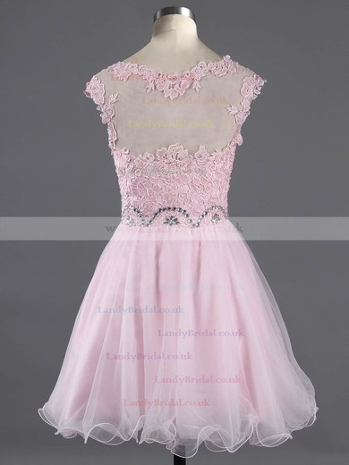 Scoop Neck Light Sky Blue Tulle Appliques Lace Cap Straps Short/Mini Online Prom Dress #LDB02042343