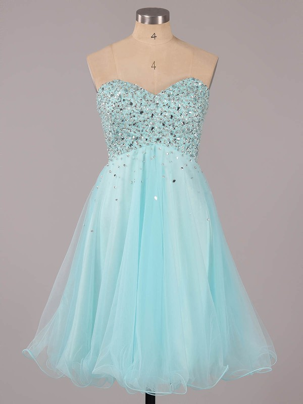 Nice Short/Mini Sweetheart Tulle with Sequins Light Sky Blue Prom Dresses #LDB02051314