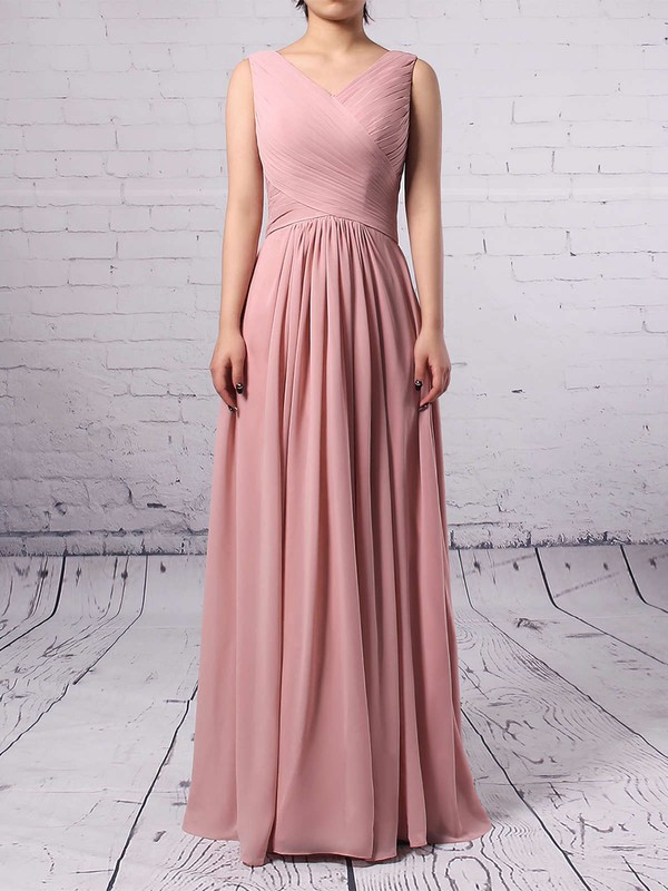 Empire V-neck Chiffon Floor-length Ruffles Bridesmaid Dresses #LDB01013481