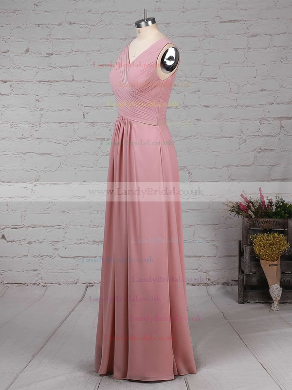 Empire V-neck Chiffon Floor-length Ruffles Bridesmaid Dresses #LDB01013481