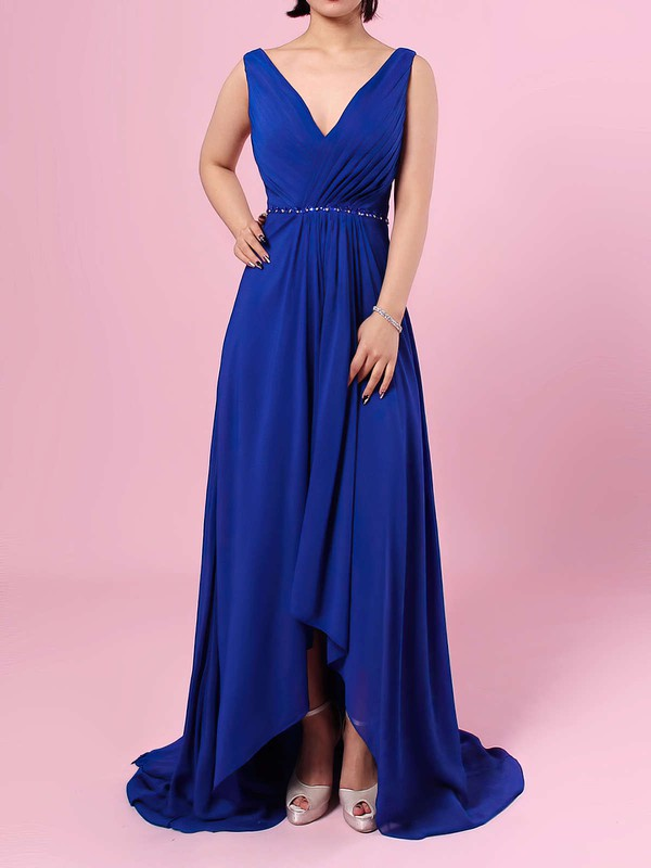 A-line V-neck Chiffon Asymmetrical Beading Bridesmaid Dresses #LDB01013565