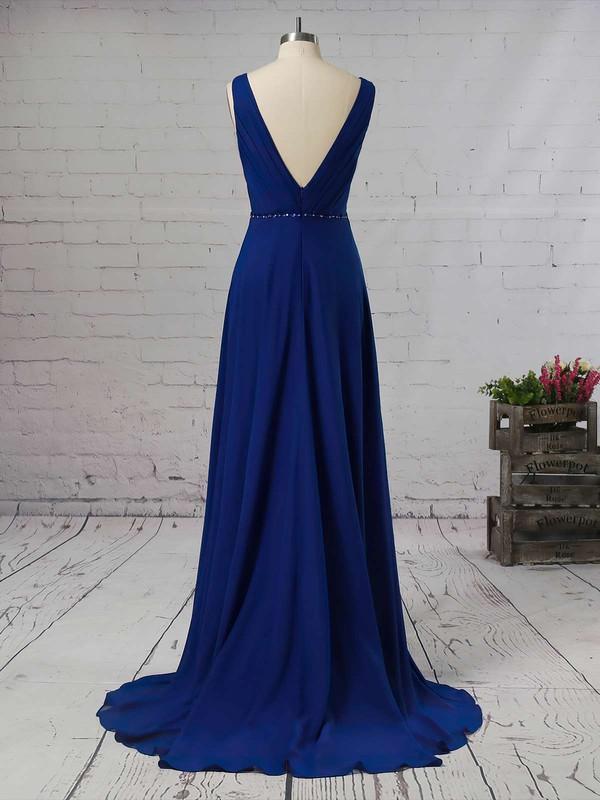 A-line V-neck Chiffon Asymmetrical Beading Bridesmaid Dresses #LDB01013565