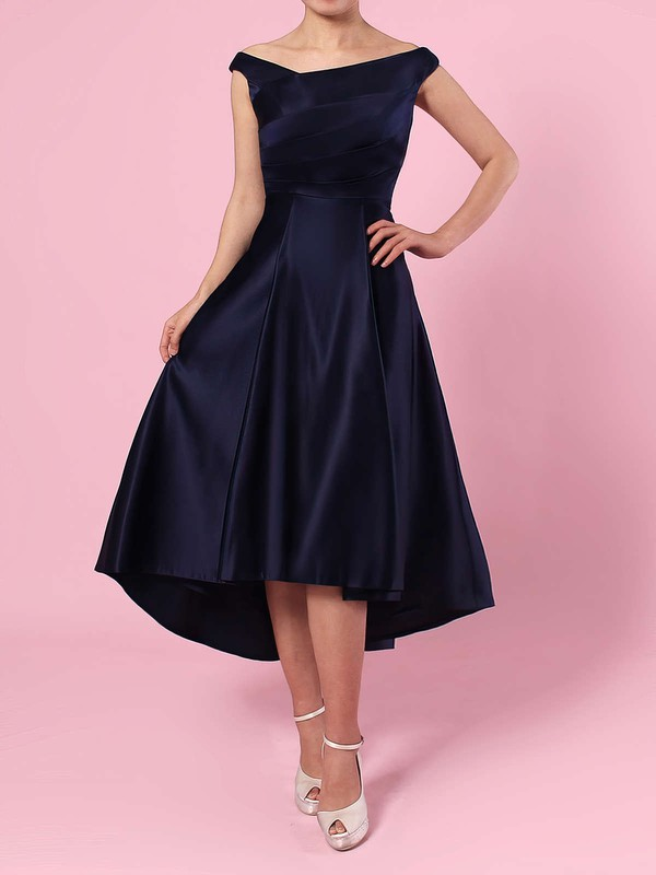 A-line Off-the-shoulder Satin Asymmetrical Ruffles Bridesmaid Dresses #LDB01013570